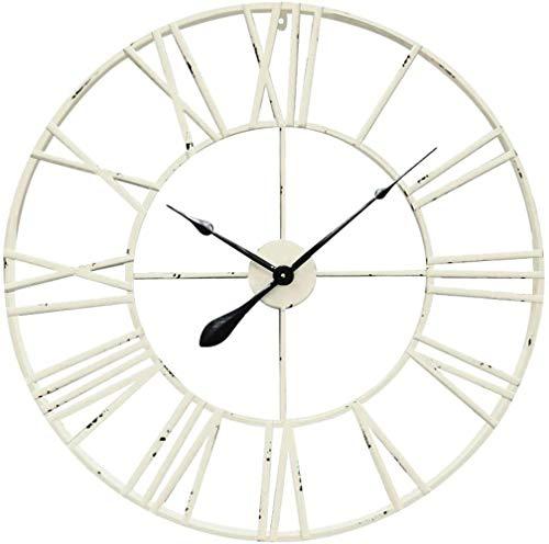 XUYI Reloj de Pared de Metal Grande - 60 cm Diámetro Mecanismo Números Hierro Cobre, Blanco Mate, 80 cm