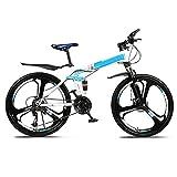 Yunyisujiao Vélo De Montagne De 26 Pouces, Vélo De Montagne À Suspension Complète, Vélo De Montagne Pliant Adulte, avec Siège Réglable Vélo De Montagne À Double Frein À Disque (Color : Blue)