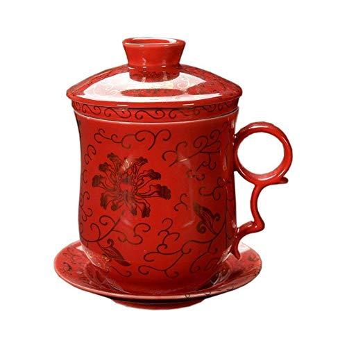 Tasse À Thé Chinois Motif de Fleur Or, Rouge Faite Main Tasse À Thé en Porcelaine, avec Filtrer, Couvercle et Soucoupe, pour Ménage, 300ml