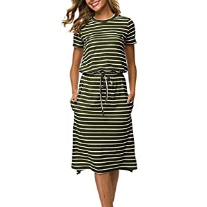 Simier Fariry Women's Striped Casual Midi Dress with Pockets