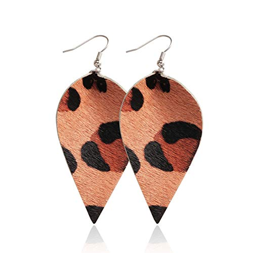 Presock Pendientes Mujer,Aretes Boho PU Leather Teardrop Dangle Earrings For Fashion Multicolor Leaf Statement Water Drop Earring Party Jewelry Wholesale 5