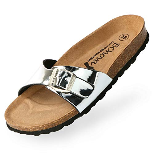 BOnova Teneriffa Damespantoletten in 10 kleuren, modieuze eenriem met kurkvoetbed – comfortabele sandalen om je goed te voelen, gemaakt in de EU