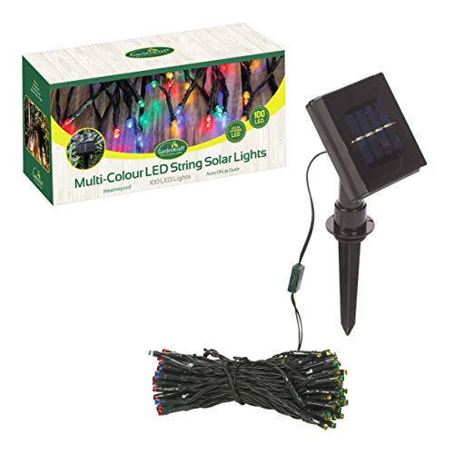 GardenKraft 15420 Multi-Coloured Solar String Lights ~ 100 LED ~ Outdoor