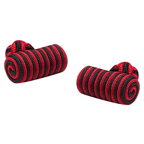 Cuff-Daddy - Gemelli a forma di nodo in seta con estremità a botte, stile extra, colori a scelta (rosso e nero)