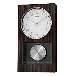 Seiko Modern Dark Wooden Wall Clock with Pendulum and Dual Chimes