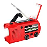 Lukasa Upgraded Emergency Hand Crank Portable AM/FM/NOAA Weather Radio,5000mAh Rechargeable Solar Radio with LED Flashlight, Phone Charger, Reading Lamp,SOS Alarm(Red)