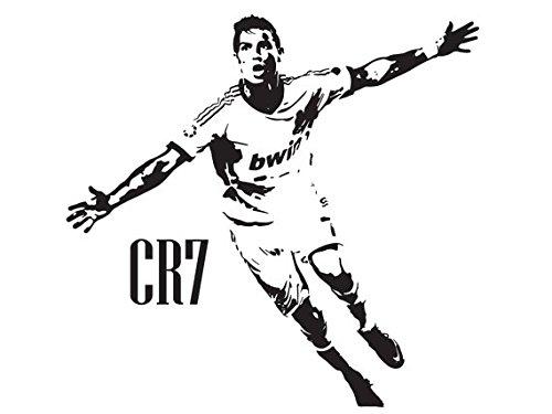 Beautiful Game Cristiano Ronaldo CR7 Wandtattoo Real Madrid, groß, Schwarz