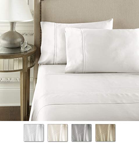 Pure Parima Luxury 100% CEA Certified Egyptian Cotton Sheet Bed Set   Extra-Long Staple   Cool, Breathable, Ultra Comfort   Double Hem-Stitched   Flat, Fitted, and 2 Pillow Cases (White, King)