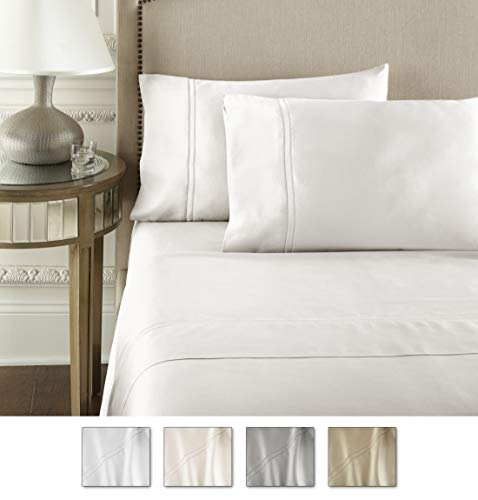 Luxury 100% CEA Certified Egyptian Cotton Sheet Bed Set | Extra-Long Staple | Cool, Breathable, Ultra Comfort | Double Hem-Stitched | Flat, Fitted, and 2 Pillow Cases (White, Full)