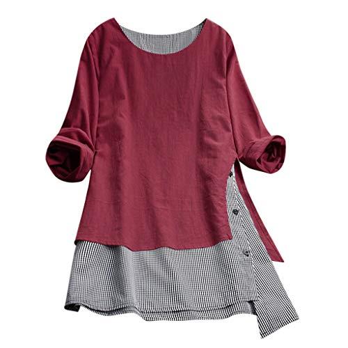 VEMOW Sommer Herbst Elegante Damen Plus Größe Dot Print Lose Baumwolle Casual Täglichen Party Strandurlaub Kurzarm Shirt Vintage Bluse Pulli(Y2-Rot, 40 DE/L CN)