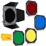 GODOX Puerta de granero de fotografía, rejilla de panal con filtro de gel de 4 colores para reflector estándar Speedlite Flash