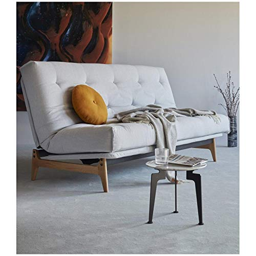 INNOVATION LIVING Canapé Convertible Design ASLAK lit 140 * 200 cm capitonné Tissu Elegance Light Grey