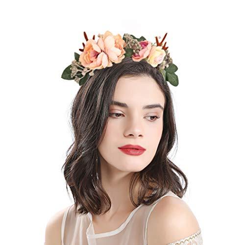 Woeoe Christmas Reindeer Antlers Headbands Floral Garland Leaves Hair Bands Festival Costume Headwear Accessories for Women Teen Girls Kids