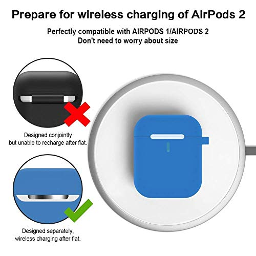 YUPING AirPods case Designed Separately Silicone Protective Cover,2 Anti-Lost Strap/2 Pairs of Ear Hooks/Airpods Watch Band Holder/Carabiner/Headphone Case Compatible for Apple AirPods(8 in 1)-Blue