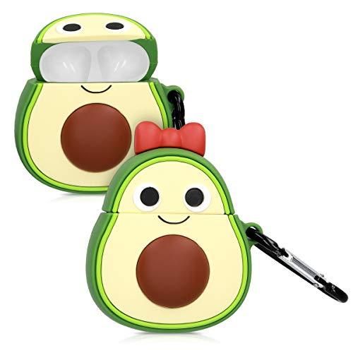 kwmobile Hülle kompatibel mit Apple AirPods Kopfhörer - Silikon Schutzhülle Hülle Cover Avocado Design Airpods Champagner Grün Rot