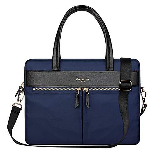 Cartinoe [Upgraded version] Women Laptop Briefcase Bag RFID Blocking Ultrathin Nylon Business Shoulder Messenger Bag Handbag For 15 inch Macbook Ultrabook For Ladies Blue