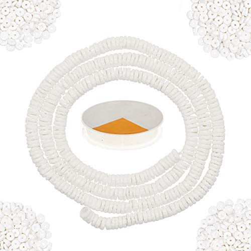 White Puka Shells for Jewelry Making Kit for Adults, 24 Inches Heishi White Clam Chip Seashells Beads Strand with 10 Yards Stretch Cord, Flat Shell Beads for Bracelets, Necklaces, Chokers and Anklets
