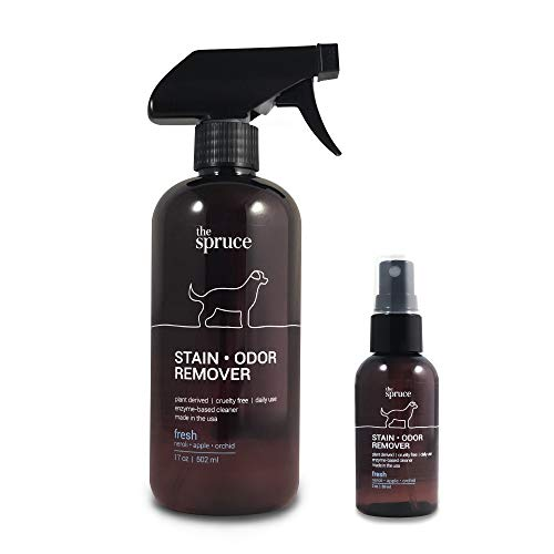 The Spruce Pet Stain & Odor Remover - Plant-Derived Enzyme-Based Cleaner for Dog and Cats Urine, Feces, Vomit, etc. Safe & Effective on Tile, Hardwood, Carpets, and Upholstery - 17 oz & 2 ozCombo