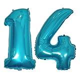 DIWULI, XL Zahlen-Ballons, Zahl 14, Ice Blue Luftballons, Zahlenluftballons, Folien-Luftballons Nummer Nr Jahre, Folien-Ballons blau für 14. Geburtstag, Hochzeit, Party, Dekoration, Geschenk-Deko