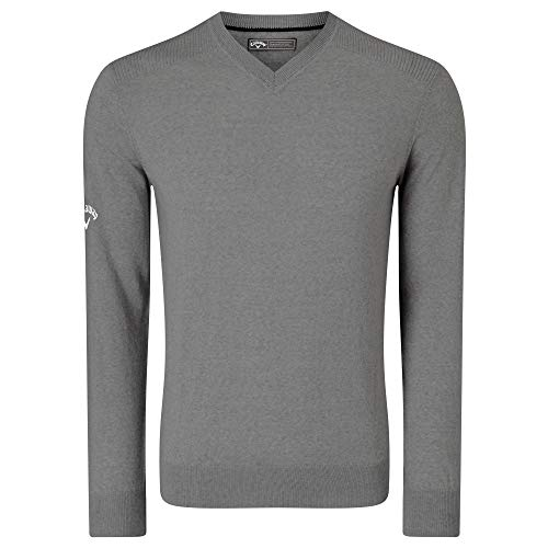 Callaway Mens Ribbed V Neck Merino Sweater (L) (Griffin)
