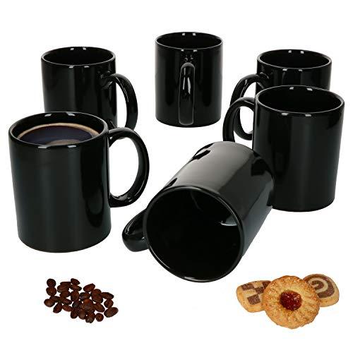 Van Well 6er-Set-Kaffeetassen Zylindrisch I Porzellan-Tasse groß - in diversen Farben I pflegeleichtes Tassen-Set - für Spülmaschine & Mikrowelle geeignet I 375 ml Kaffeebecher Schwarz 6 Stück