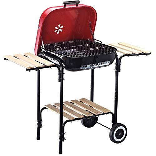 Outsunny Barbacoa de Carbón Picnic con Estantes de Madera Parrillas Asador BBQ Patio Acampada Multifuncional Parilla de Carbón Vegetal 98x49x81cm con Ruedas