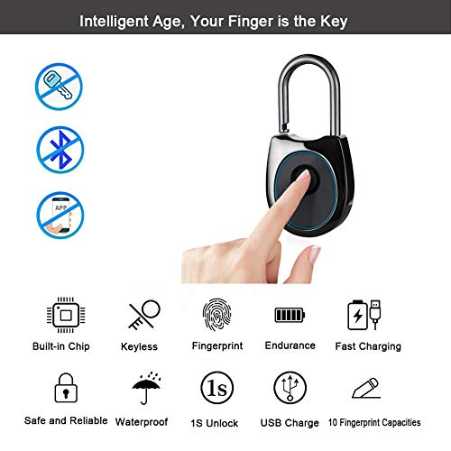 IFOLAINA Fingerprint Padlock Smart Touch Lock Metal Waterproof IP65 Anti-Theft Intelligent Keyless for Gym Locker, School Locker Lock, Backpack, Suitcase, Travel Luggage Black