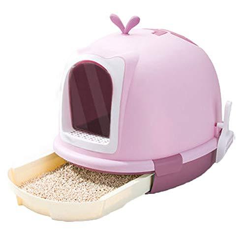Inodoro para gatos a prueba de salpicaduras, totalmente cerrado, tipo inodoro, caja de arena extragrande, desodorizante, suministros para gatos con capucha (color: morado)