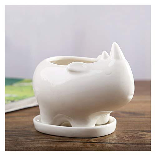 DALIBAI Blanco Moderno Tiesto Simple Mesa pequeña suculenta de vasijas de cerámica Planta de contenedores Jardinera Jardín Balcón Decoración Hogar Deco Regalo de cumpleaños, 11.5x7.6