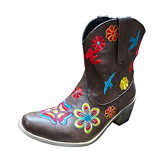 DKBL Cowboy Boots for Women Retro Embroidered Short Boots Winter and Autumn Floral Ankle Boots Fashion Cowboy Boots Brown