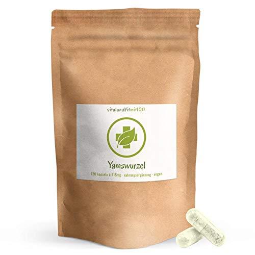 Yamswurzel Kapseln (Mexican Wild Yam) - 120 Stück à 415 mg - ganze Wurzel, kein Extrakt! - besonders schonend behandelt - 100% vegan, glutenfrei - OHNE Hilfs- u. Zusatzstoffe