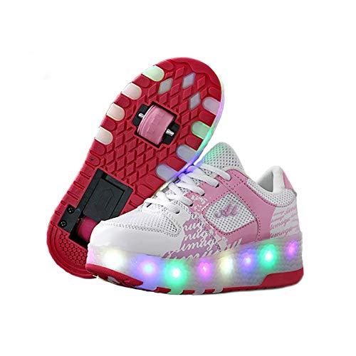 GEETAC Trainer Mädchen, Neueste Mädchen Kids Fitness Schuhe, Sportschuhe Double Wheels Retractable Skateboarding Rollerblades Full Size,34
