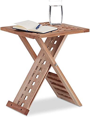 MEACH, Mesa de centro cuadrada, mesa plegable plegable Té de mesa de madera Varios mesa de jardín Apariencia de red moderna - Diseño de baja llave,Wood color