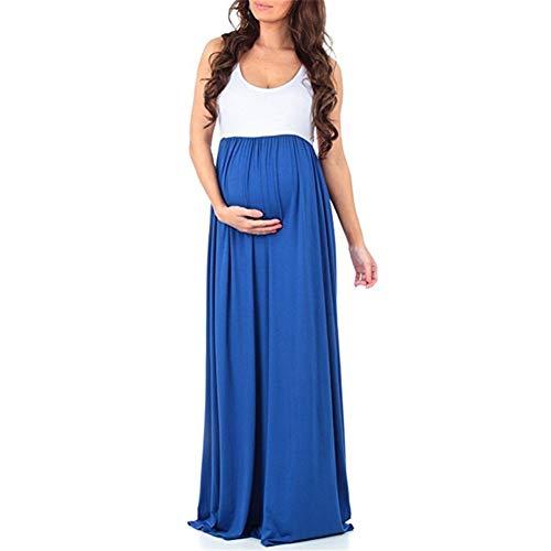 FEIFUSHIDIAN Capuche Femme Couleur Unie Couture Col Rond Manches Robe Salopette Mis sur Une Grande Femme Enceinte Bloquer Pull-up ( Color : Blue , Size : L )