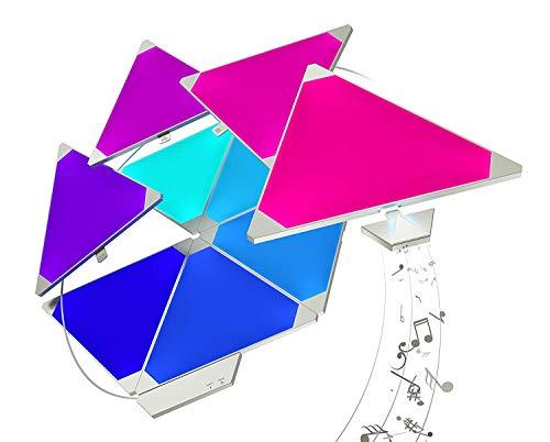 ZQH LED Smart Light Panels, DIY Triangle Panel Lampe Kreative Mehrfarbige Modulare Wandleuchten WiFi APP Musiksteuerung Ausrüstung Für Raum, Party, 9-teiliges Panel-Kit