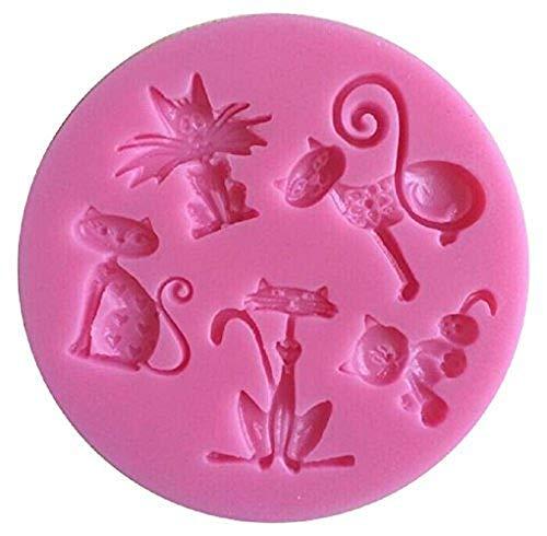 Siliconen mal voor voedselgebruik van 5 katten - suikerpasta - fondants - cakes - pannenkoeken - muffins - decoraties