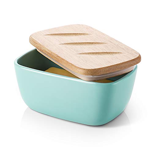 DOWAN Porcelain Butter Dish with Lid, Airtight Butter Container (Large Butter Dish), Bread-shape Butter Dish with Cover, Blue