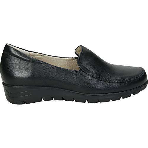 Zapato en Piel con Elasticos y Plantilla Extraible cuñita de 3cm (Negro, Numeric_38)