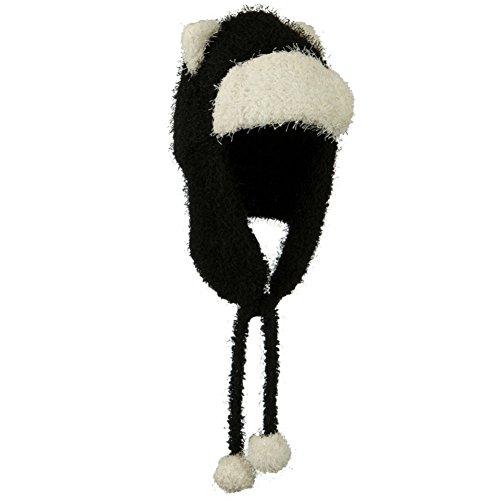 BLACK Soft Fleece Trapper Bomber Winter Hat w/ Bear Ears