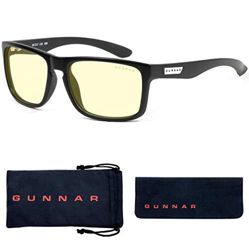 GUNNAR Gafas para Videojuegos y Ordenador   Intercept, Montura: Onyx, Lentes: Ámbar   con filtro de Luz Azul   Lente Patentada con protección 65% de Luz Azul y 100% de UV Para Reducir la Fatiga Ocular