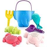 CubicFun Sandspielzeug Set für Kinder und Kleinkinder, Strandspielzeug Enthält Sandschaufel und Eimer, Schildkröte Krokodil Wal Krabben Formen Wasserspielzeug für Badewanne, 7 Stück