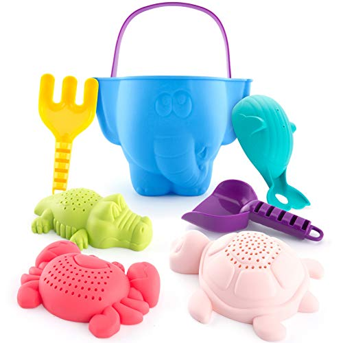 Beach Toys Snow Toys Bath Toys for Kids Toddlers Baby, Sand Toys Bucket Rake Shovel Set, Animal Beach Turtle Crocodile Whale Crab Molds Water Toys for 1 Year Old Boy 18 Months Old and up, 7 Pieces