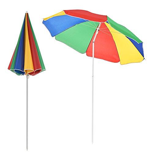 casa.pro Strandschirm Sonnenschirm Schirm Gartenschirm Strand Mehrfarbig 194x180cm