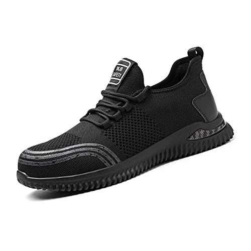 Aingrirn Zapatos de Seguridad Hombre Mujer con Punta de Acero Zapatillas de Seguridad Ultra Liviano Transpirable Calzado de Industrial y Deportiva (Color : Black, Size : 44 EU)