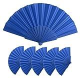 Lote 25 Abanicos de varillas de plastico y tela poliester, Med 43 x 23 cm   47 gr, Abanicos baratos, detalle boda, bautizos, comuniones, Abanicos personalizables (Azul)