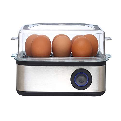 Venga. VG EK 3000 2-in-1 eierkoker voor 8 eieren, koken en pocheren, pocheerinzet voor 4 eieren, gemakkelijk te hanteren maatbeker met naald, roestvrij staal, 500 W