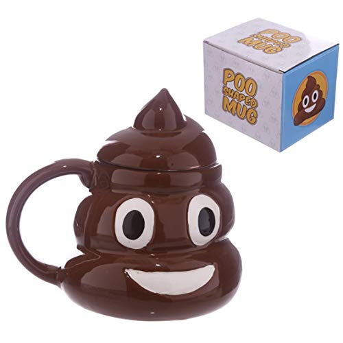 VIGE Tasse à café en Forme de Caca en céramique avec Couvercle - Brun foncé