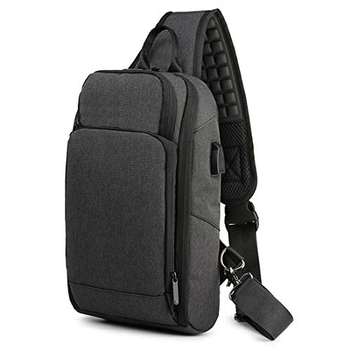 Sling Backpack for Men Crossbody Shoulder Chest Pack Bag with USB Charging Port Waterproof Casual Daypack Fits 9.7 Inch Ipad Black