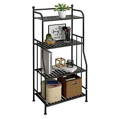 GHQME 4 Tier Metal Standing Shelf Space Saver, Storage Tower Rack for Kitchen Bathroom, Storage Shelving Unit Organizer, Outdoor Flower Stand (Black, 4-Tier)