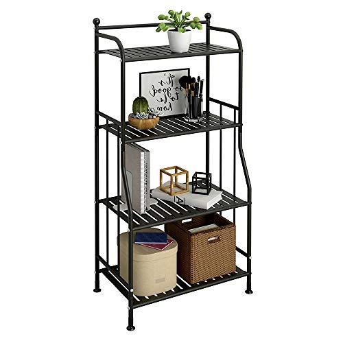 GHQME Estante de metal de 4 niveles para ahorrar espacio, estante de almacenamiento para cocina, cuarto de baño, organizador de almacenamiento, soporte para flores al aire última intervensión (negro, 4 niveles)